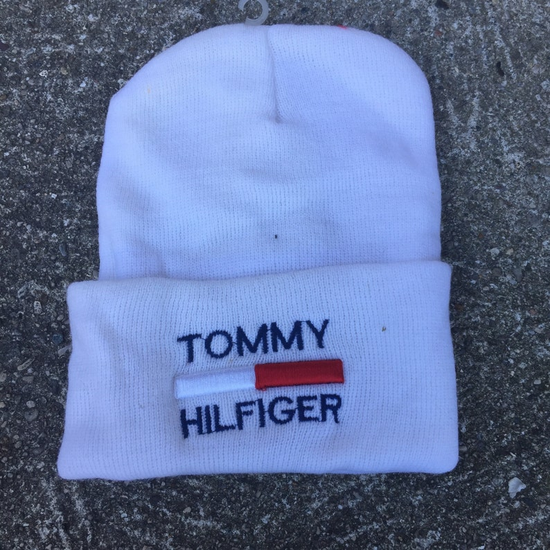 10a91647c2855 Vintage Tommy Hilfiger Bootleg 90s Beanie Stocking Winter Hat
