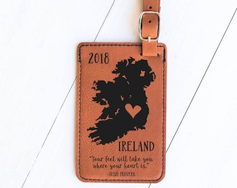 Ireland Map Luggage Tag, Gift for Travel to Ireland, Dublin, Study Work Abroad, Baggage Tag, Airport Gift, Gift for Irish Travelers LT46