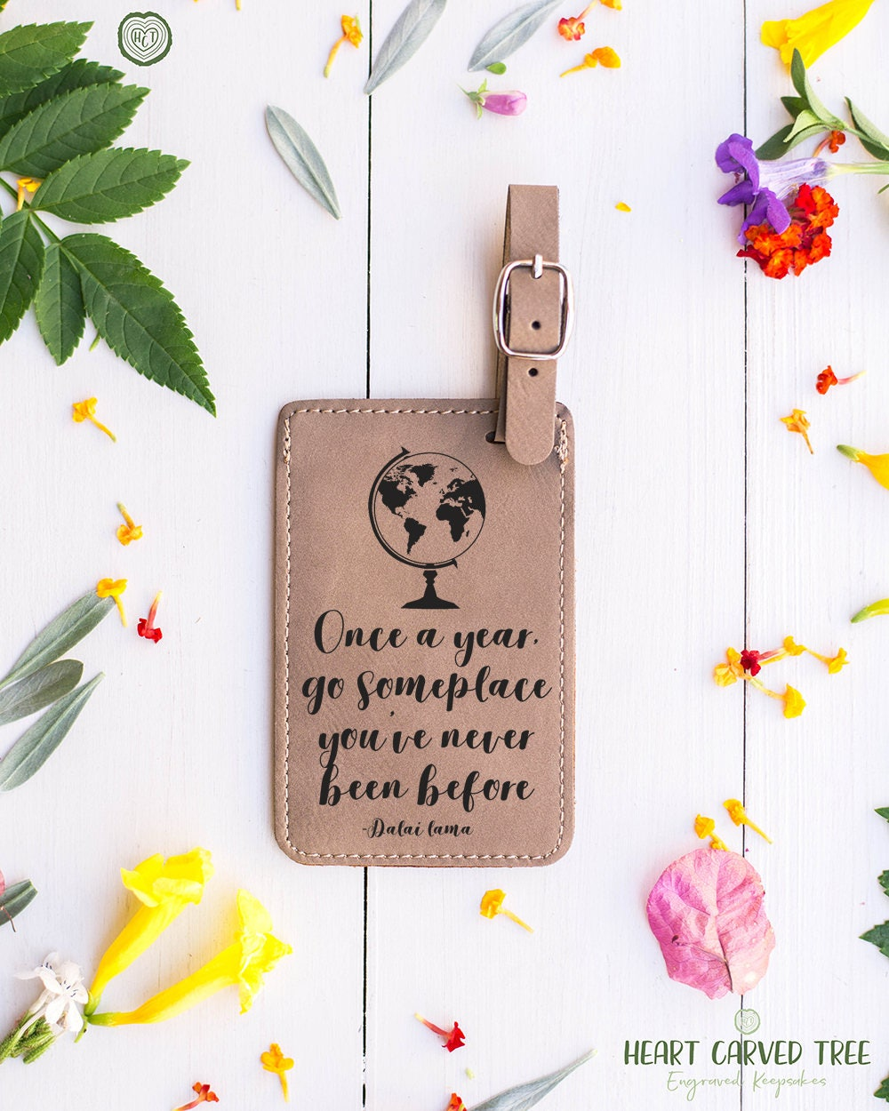 Travel Quote Luggage Tags Dalai Lama Quote Go Someplace New