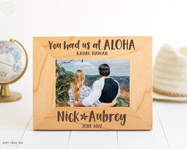 Hawaii Gift Ideas for the Holidays featured by top Hawaii blog, Hawaii Travel with Kids: Hawaii Engraved Picture Frame You Had Us At Aloha image 0