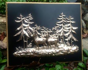 Vintage 3D Deer/Nature Wall Hanging/ Vintage Decor/ Nature Decor/ Men's Gift
