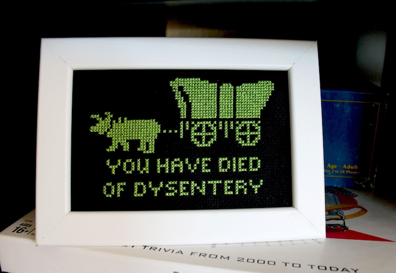 Oregon Trail You Died of Dysentery Funny Framed Cross Stitch image 0