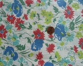 Vintage Feedsack, Multi colored floral, larger scale, full size, mint condition