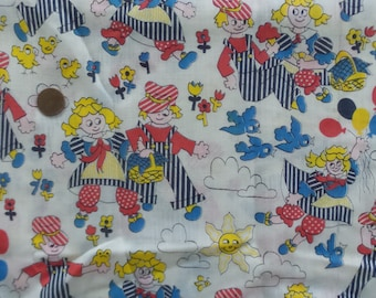 Vintage fabric, cute kids fabric, cotton/poly blend, yardage, mint condition