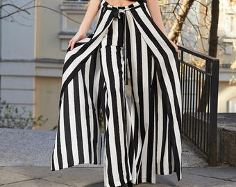 Plus Size Pants, Striped Pants, Steampunk Clothing, Futuristic Clothing, Gothic Pants, Avant Garde Clothing, Black And White Pants