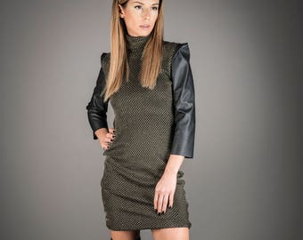 Leather Dress, Women Black Dress, Short Dress, Golden Dress, Cotton Dress, Club Dress, Trendy Plus Size Clothing, Fashion Dress