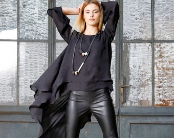 Black Tunic, Avant Garde Clothing, Women Tunic, Futuristic Clothing, Asymmetric Tunic, Plus Size Tunic, Gothic Top, Steampunk Loose Tunic