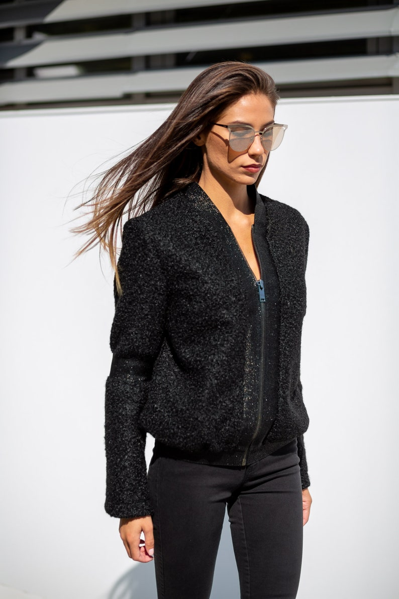 Bomber Jacket, Black Jacket, Wool Jacket, Plus Size Clothing, Winter  Jacket, Wool Clothing, Jacket Women, Long Sleeve Jacket, Minimalist