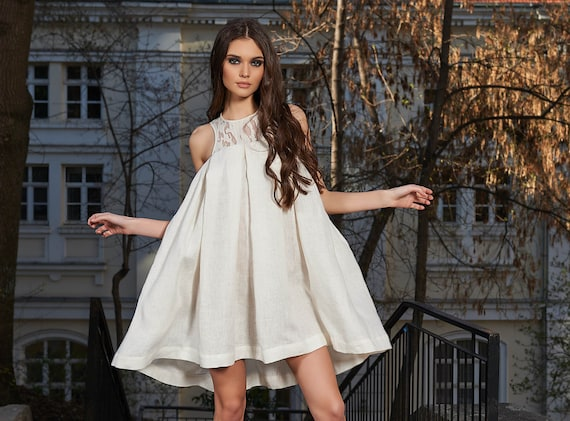 ffd1068df7a White Linen Dress Boho Wedding Dress Plus Size Dress Linen