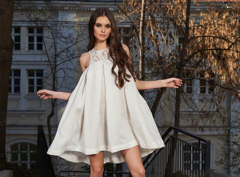 White Linen DressPlus Size Dress Linen Dress Short Linen | Etsy