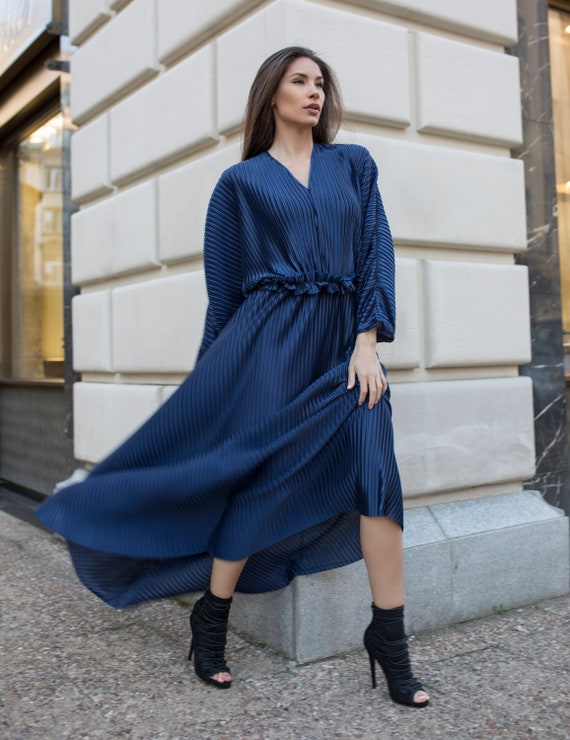 Blue Summer Dress, Kimono Dress, Kaftan Dress, Summer Maxi Dress, Plus Size  Maxi Dress, Plus Size Dress, Plus Size Clothing Abaya Maxi Dress