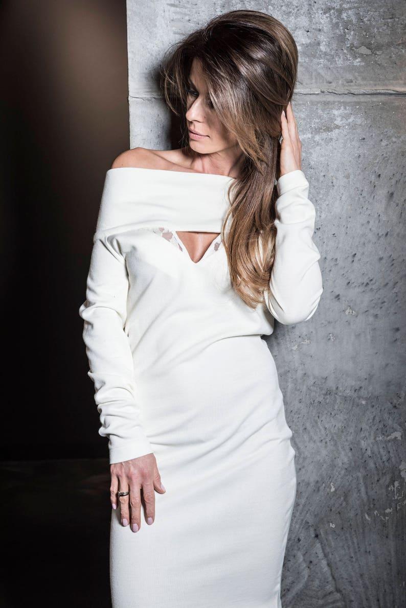 442d1d0bbf8 Off Shoulder Dress Ecru Dress Women Dress Sexy Dress Plus