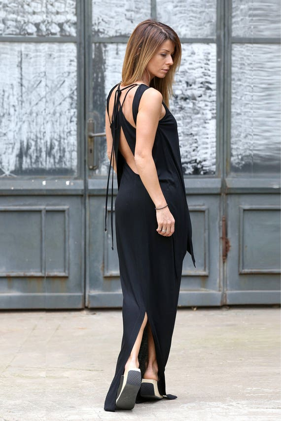 Plus Size Maxi Dress Open Back Summer Dress Abaya Black Etsy