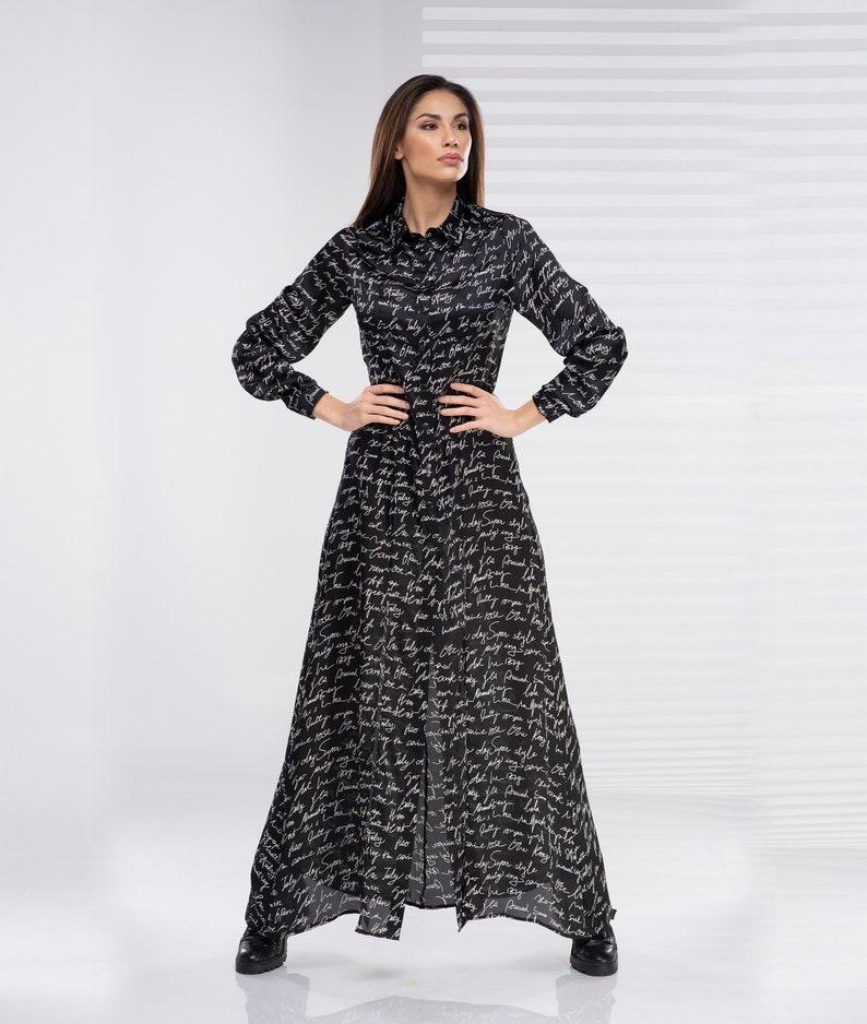 Plus Size Maxi Dress, Maxi Shirt Dress, Collared Dress, Plus Size Clothing,  Maxi Tunic, Avant Garde Maxi Dress, Black Maxi Dress, Gothic