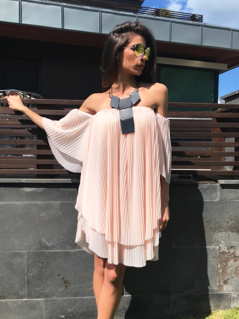 Off Shoulder Dress, Summer Dress, Short Dress, Plus Size Dress, Layered  Dress, Loose Dress, Summer Clothing, Plus Size Clothing,Kimono Dress