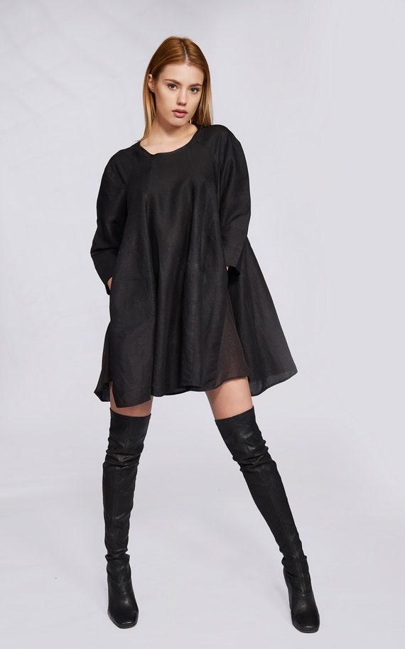 Linen Sleeve Linen Dress Linen Tunic Dress Dress Oversized Size Mini Plus Short Linen Clothing Dress Dress Dress Long Tunic Black pazxwq5