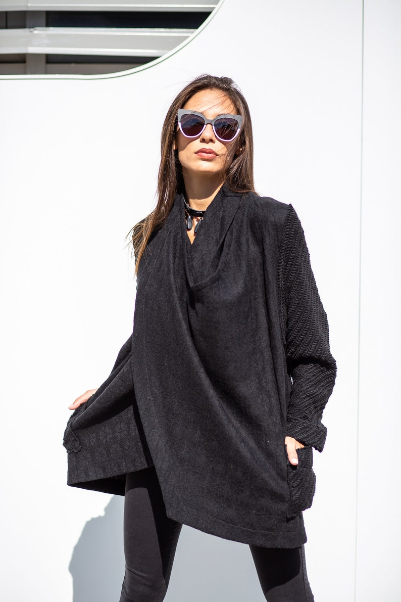 a8c8c877b45d8 Cardigan Women Black Cardigan Wool Cardigan Plus Size