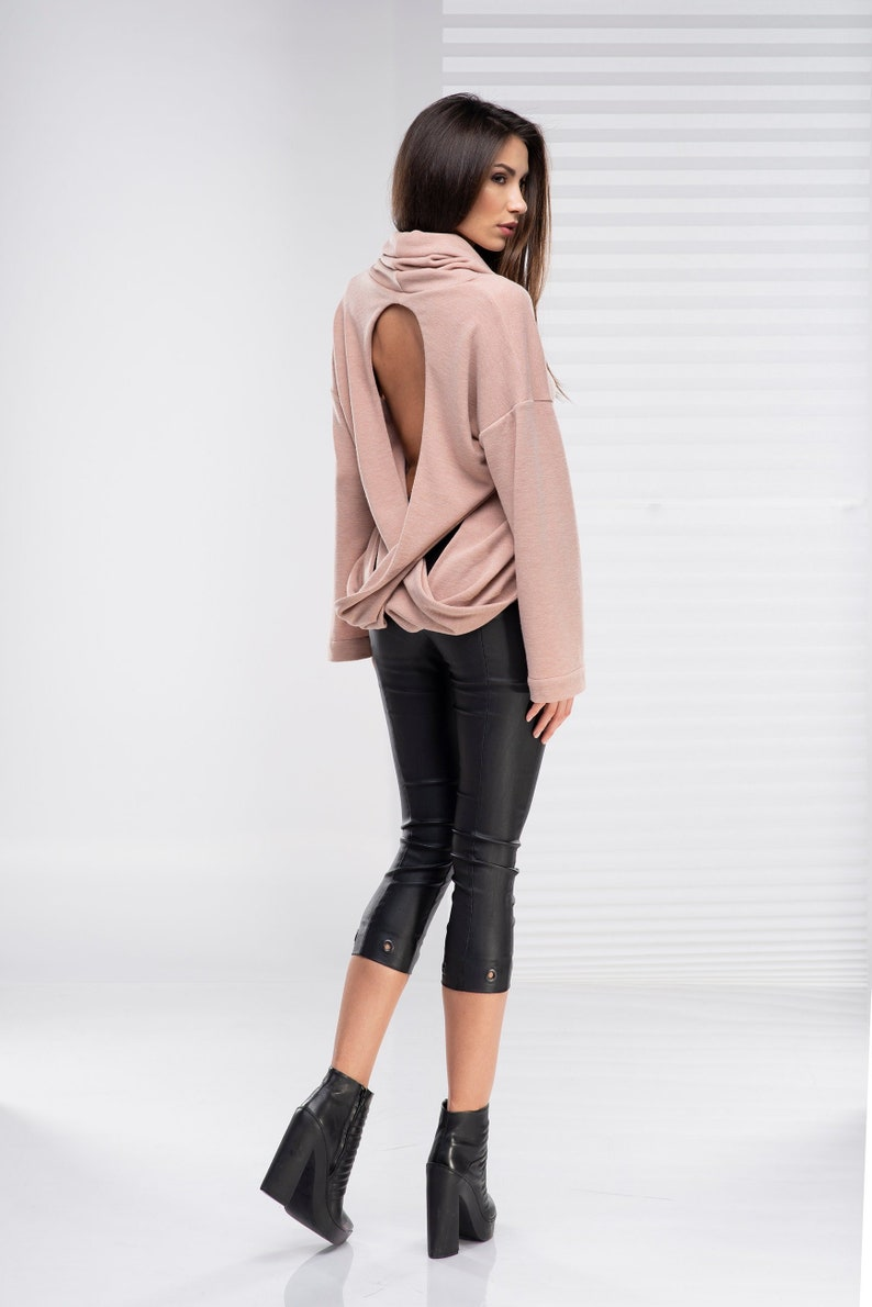0f64ab649f6 Pink Sweater Open Back Sweater Sexy Top Plus Size Sweater