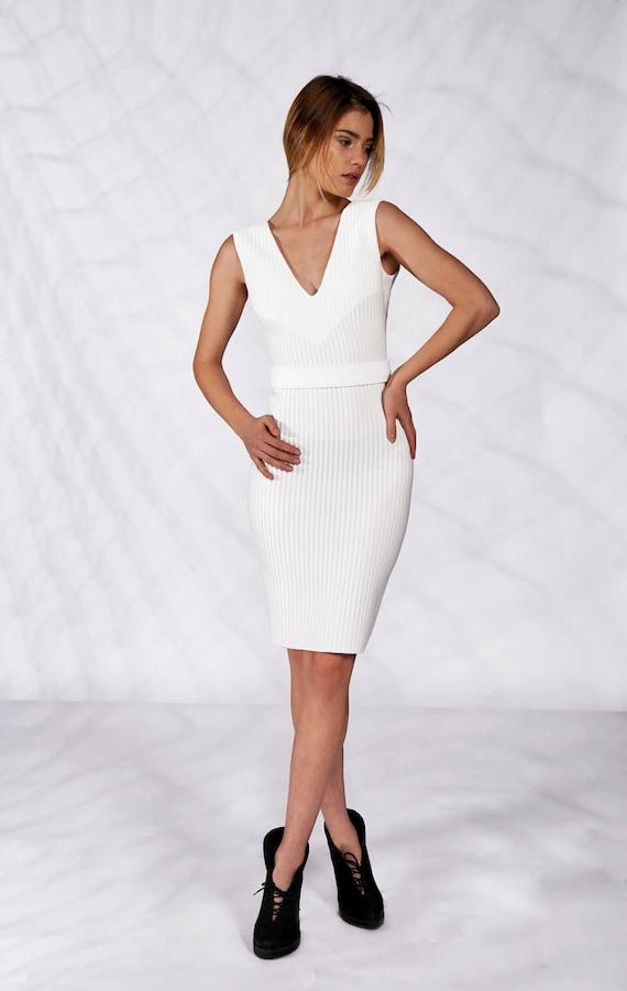 Short Wedding Dress, Boho Wedding Dress, White Cocktail Dress, Alternative Wedding Dress, White Evening Dress, Avant Garde, Sleeveless Dress