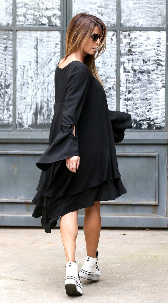 Dress Dress Dress Sleeve Women Black Loose Plus Dress Women Batwing Plus Dress Midi Black Size Tunic Dress Dress Size Long Dress qOwnxO4Ppt