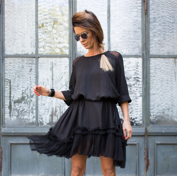 Party Black Tulle Length Dress Sexy Elegant Dress Dress Black Dress Summer Dress Black Little Dress Black Black Knee Dress Black qASwnaafR
