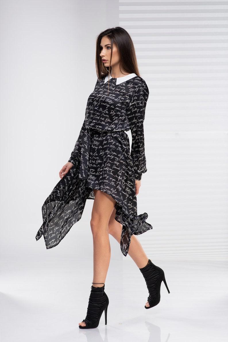 Asymmetric Tunic Dress, Plus Size Dress, Women Dress, Plus Size Tunic,  Gothic Clothing, Collared Dress, Long Sleeve Dress Plus Size Clothing