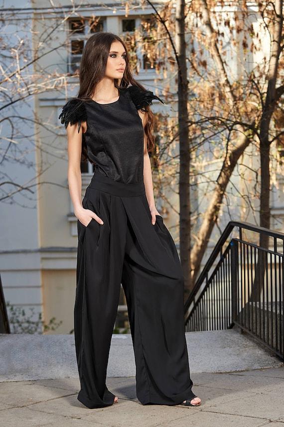Cocktail Pants Elegant Pants Plus Size Pants Black Trousers Suit Pants Minimalist Clothing,Plus Size Clothing Women Pants Black Pants