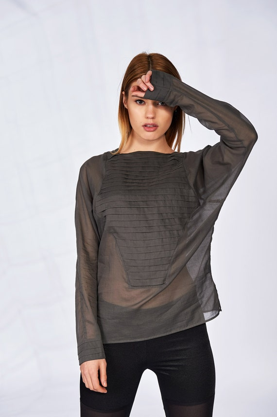 See Through Top Sheer Blouse Women Top Plus Size Blouse Etsy