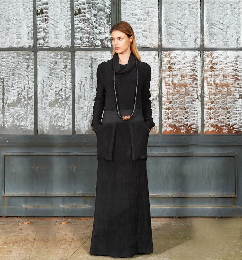 Gothic Dress, Maxi Sweater Dress, Black Sweater Dress, Turtleneck Dress,  Abaya Dress, Plus Size Caftan, Black Kaftan, Long Black Dress
