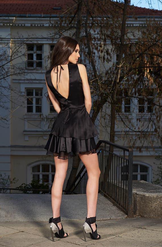 Schwarze Sexy Kleid Minikleid V-Neck-Kleid Party Kleid