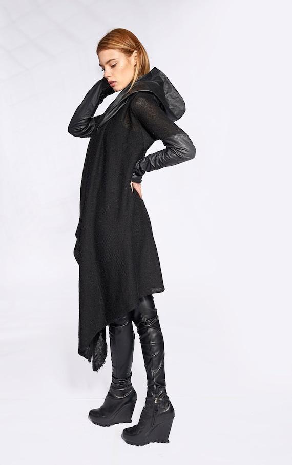 Kapuzen Cardigan, Gothic Kleidung, lange Strickjacke, Plus Größe Cardigan, Frauen Gothic Strickjacke, schwarz asymmetrische Strickjacke, schwarz