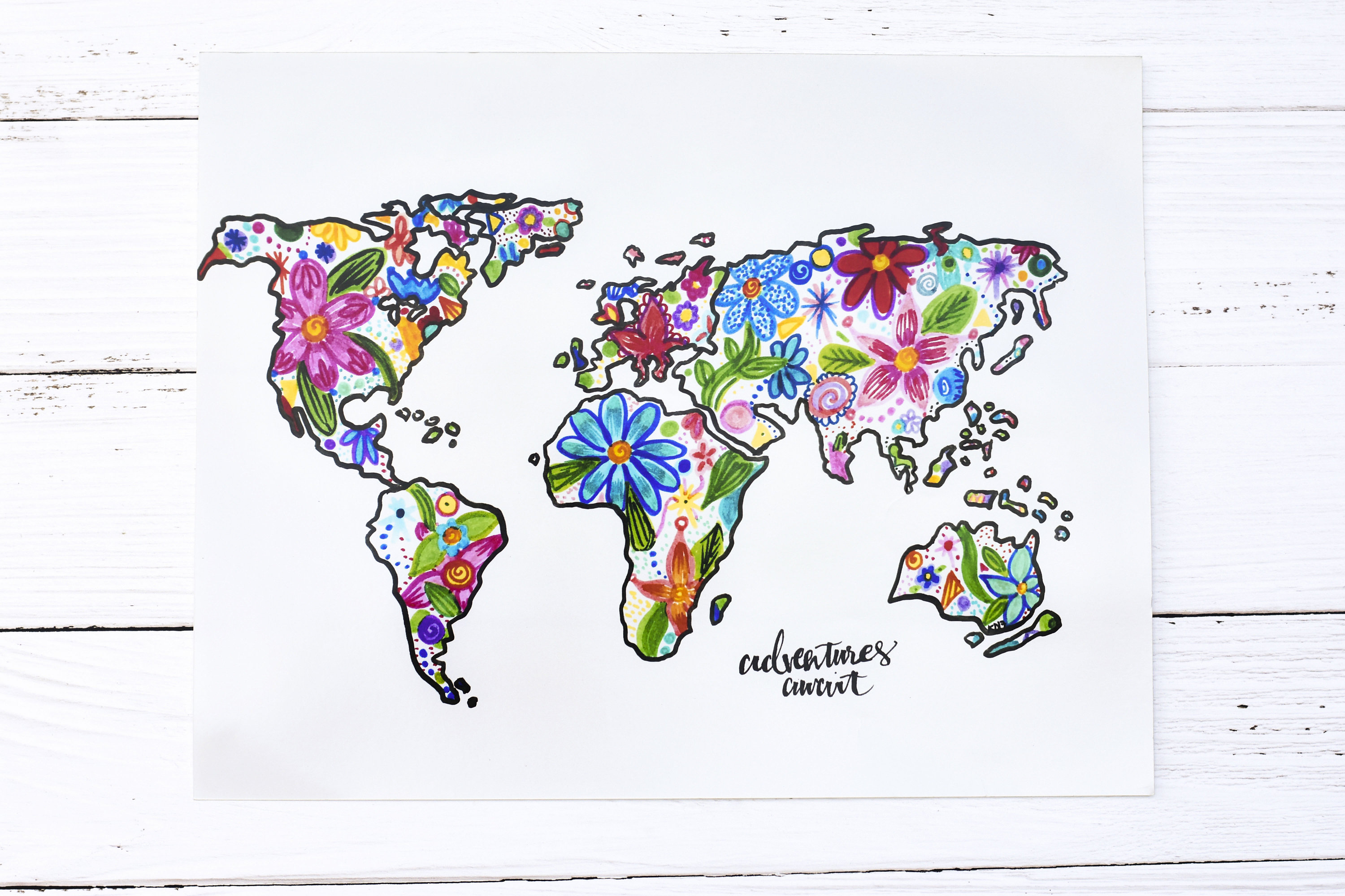 Colorful World Map Art.Colorful World Map Poster Print Wall Art Map Floral World Etsy