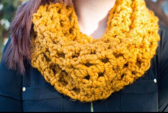 Mustard Yellow Sundae Cowl Scarf | Crochet Scarf | Cowl Scarf | Winter Scarf
