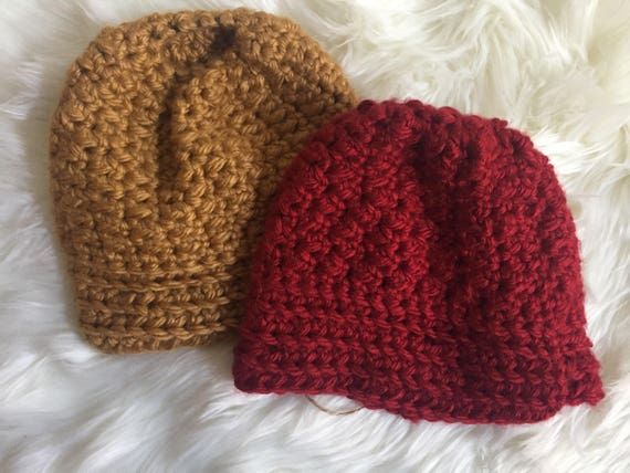 Messy Bun Hat | Bun Hat | Crochet Bun Hat | Winter Hat