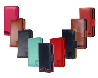 13262b08739 iPhone 7 Leather Wallet Case & Card Holder - Turquoise Blue, Black, Brown,  Red and Pink Real Leather Folio Cases - Personalisation Available