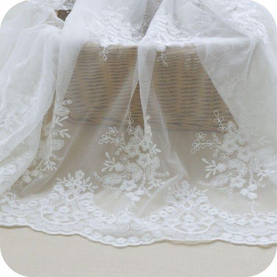 Off White Floral broderie dentelle tissu tissu dentelle Home Decor Rideau tissu dentelle mariage robe robe dentelle vente par l'yard 42baf4