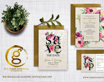 Invitation Set : Watercolor Garden