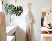 "Large ""Lyric"" WITH Accent Knob-Macrame Wall Hanging, Textile Fiber Knot Art, Fringe Scandi Style, Bohemian Accent"