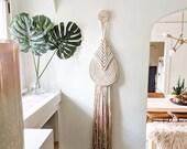 "Medium ""Lyric"" WITH Accent Knob-Macrame Wall Hanging, Textile Fiber Knot Art, Fringe Scandi Style, Bohemian Accent, Macrame Rope Art"