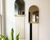 """Fringe Mirror: """"Svara"""" Arch Mirror WITH Brass Accent Bar-Boho Mirror, Half-Moon Mirror, Macrame Mirror, Modern Mirror"""