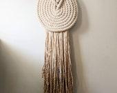"Medium ""Lyric"" WITHOUT Accent Knob-Macrame Wall Hanging, Textile Fiber Knot Art, Fringe Scandi Style, Bohemian Accent, Macrame Rope Art"