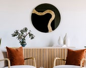 """Modern Mirror """"Glissando"""" in Cross Over Style Design-Gold Mirror, Silver Mirror, Oversized Round Mirror, Round Mirror, Abstract Mirror"""