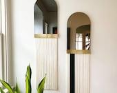 """Fringe Mirror: """"Aria Svara"""" Arch Mirror WITH Brass Accent Bar-Boho Mirror, Half-Moon Mirror, Macrame Mirror, Modern Mirror"""