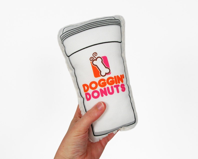 Coffee lover gift Funny dog toy Doggin/' Donuts dog toy Dunkin donuts gift Squeaker dog toy Dunkin Donuts cup Dunkin Donuts