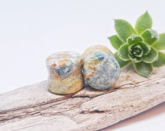 "Local stone plugs, stone body jewelry, flared ear plugs, organic stone plugs, handmade plugs, stone plugs 9/16"", organic ear stretchers"
