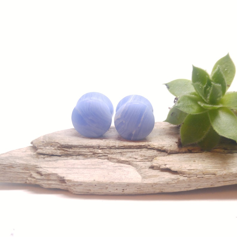 Small 12 Blue Agate plugs hand carved on Vancouver Island