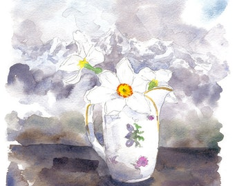 Original watercolor daffodils on a background of mountains