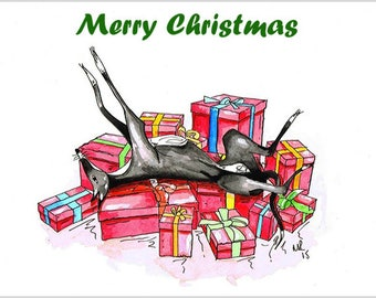 Xmas card in italian etsy greyhound whippet lurcher italian dog christmas cards xmas cards 1 6 12 18 24 30 card pack sizes free delivery in uk m4hsunfo