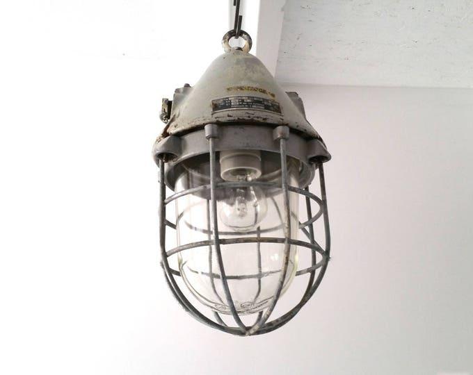 Vintage heavy industrial 'Bull' hanging fixture