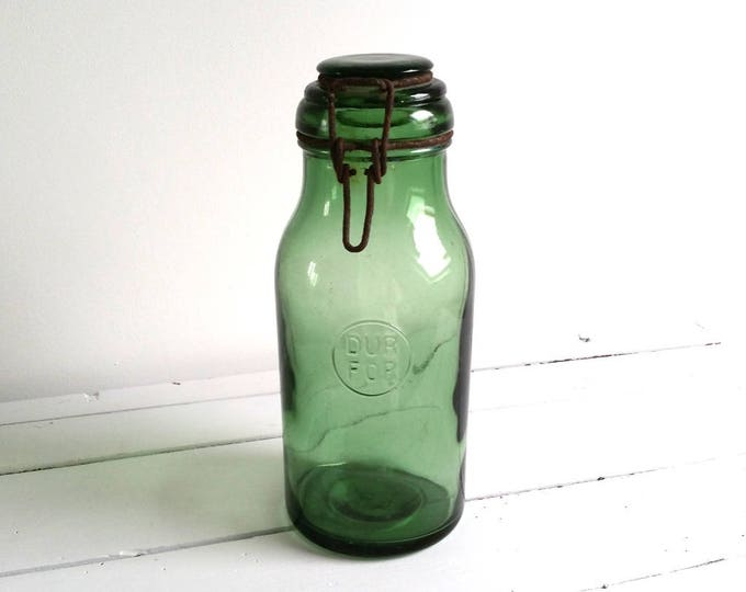 Awesome old french vintage glass jar 'Dur For'